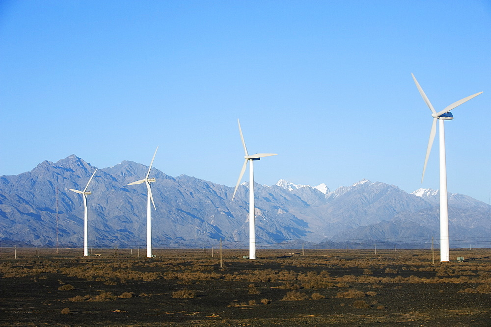 China's largest wind turbine farm near Urumqi, Xinjiang Province, China, Asia