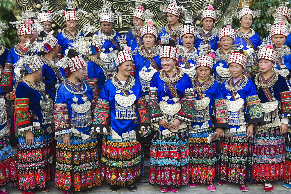 Elaborate costumes worn at a traditional Miao New Year festival in Xijiang, Guizhou Province, China, Asia - 733-3292