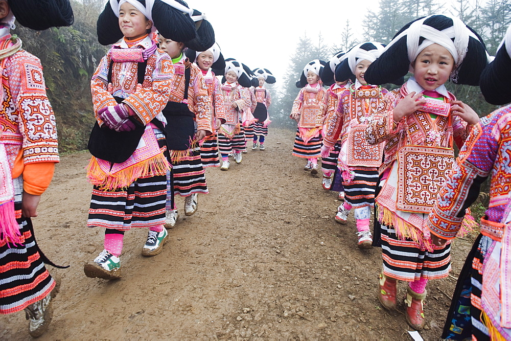 Long Horn Miao lunar New Year festival celebrations in Sugao ethnic village, Guizhou Province, China, Asia