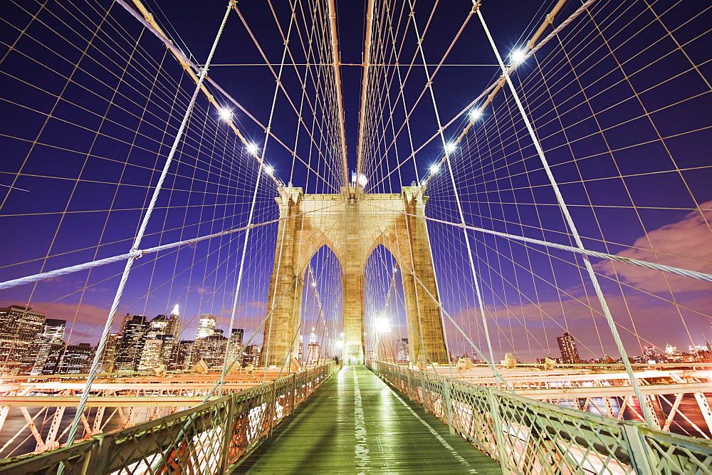 Brooklyn Bridge and Manhattan skyline from Brooklyn, New York City, New York, United States of America, North America - 733-3496
