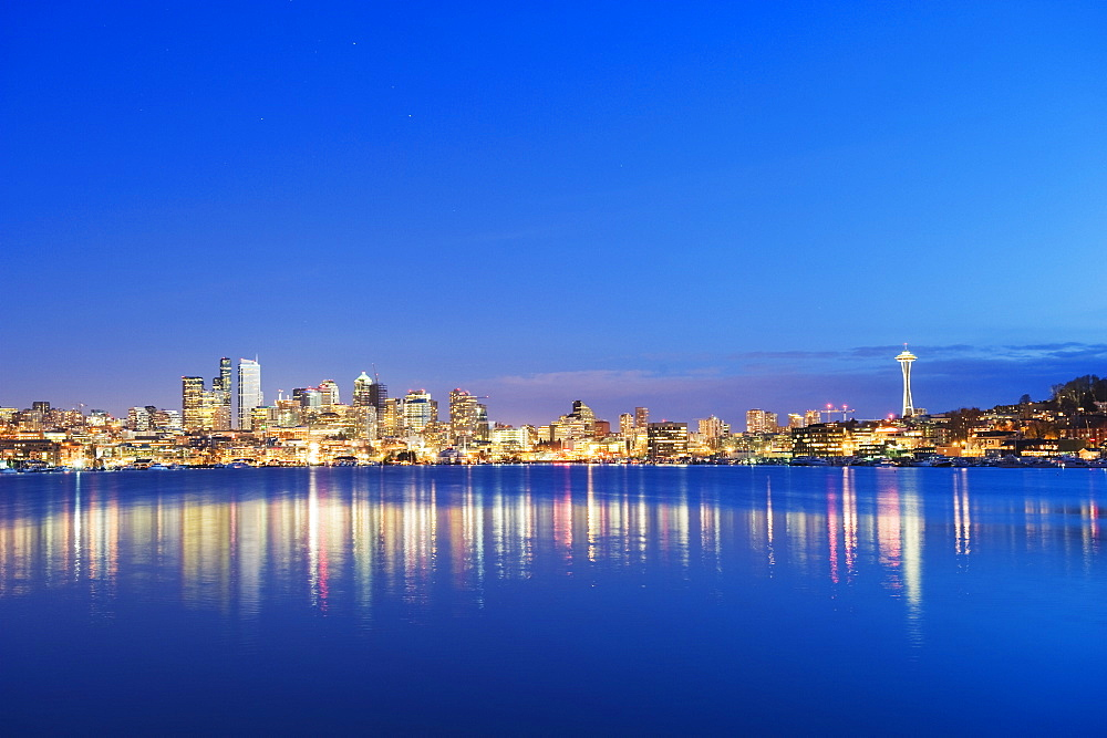 Downtown buildings and Space Needle seen from Lake Union, Seattle, Washington State, United States of America, North America