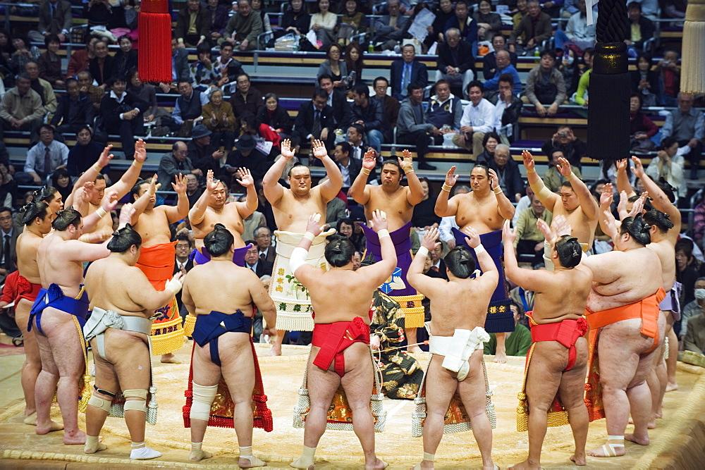Fukuoka Sumo competition, entering the ring ceremony, Kyushu Basho, Fukuoka city, Kyushu, Japan, Asia - 733-3781