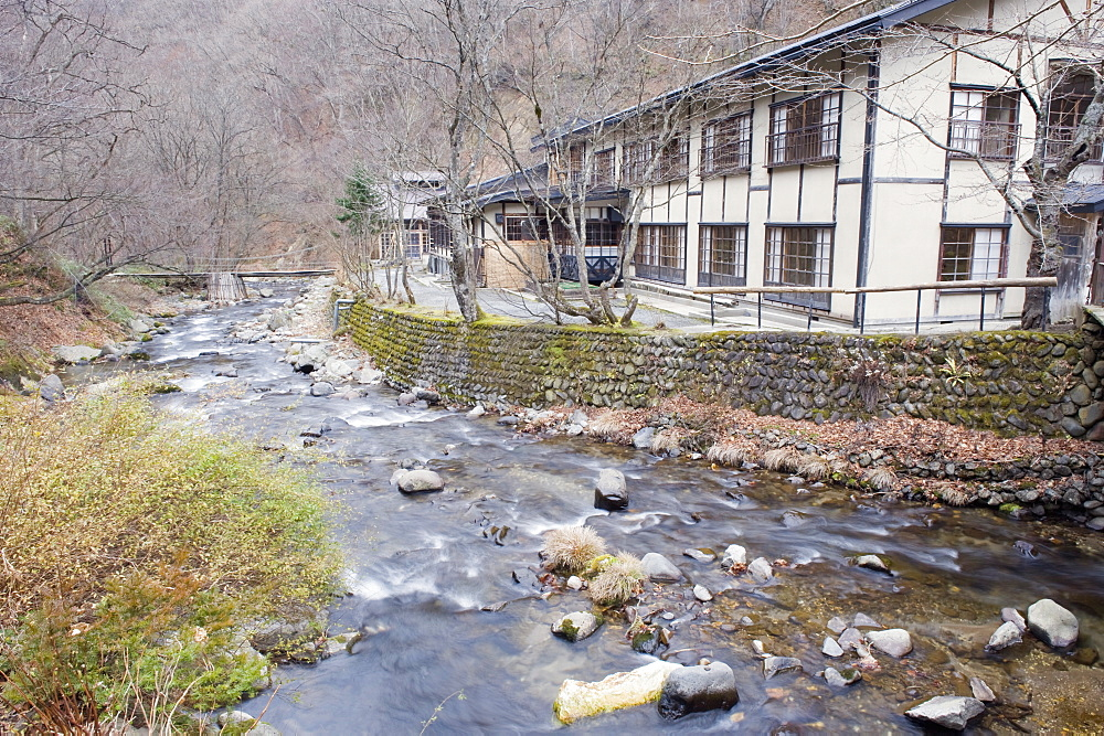 River flowing through Aoni Onsen hot spring resort, Aomori prefecture, Japan, Asia