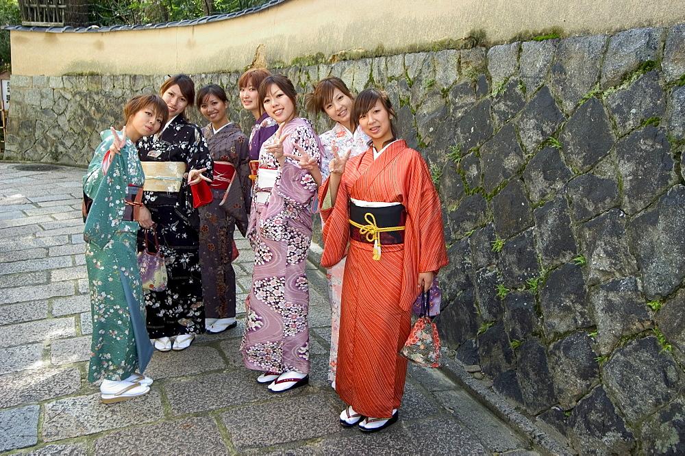 Girls wearing yukata - kimono in Gion, Kyoto city, Honshu, Japan, Asia