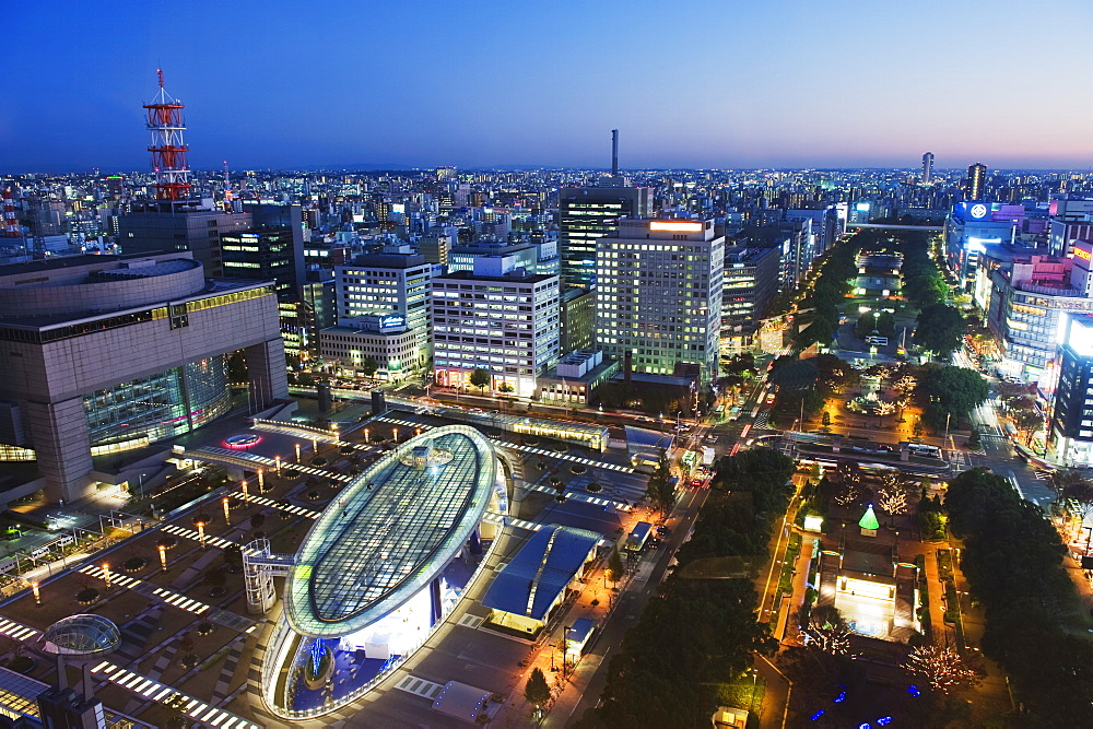 Oasis 21 and city skyline, Nagoya city, Gifu Prefecture, Japan, Asia