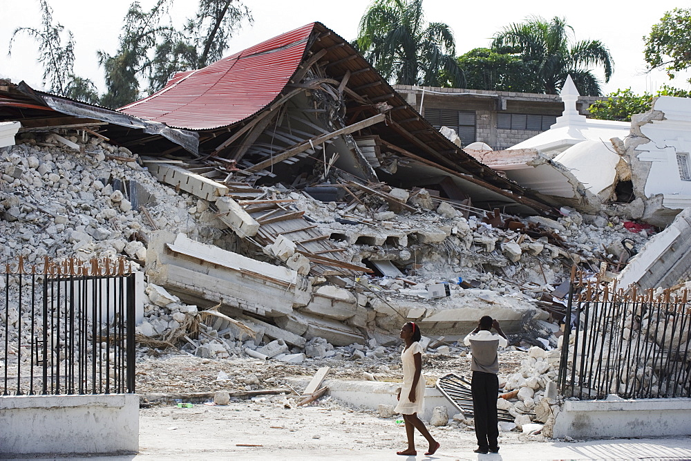 January 2010 earthquake damage, downtown, Port au Prince, Haiti, West Indies, Caribbean, Central America