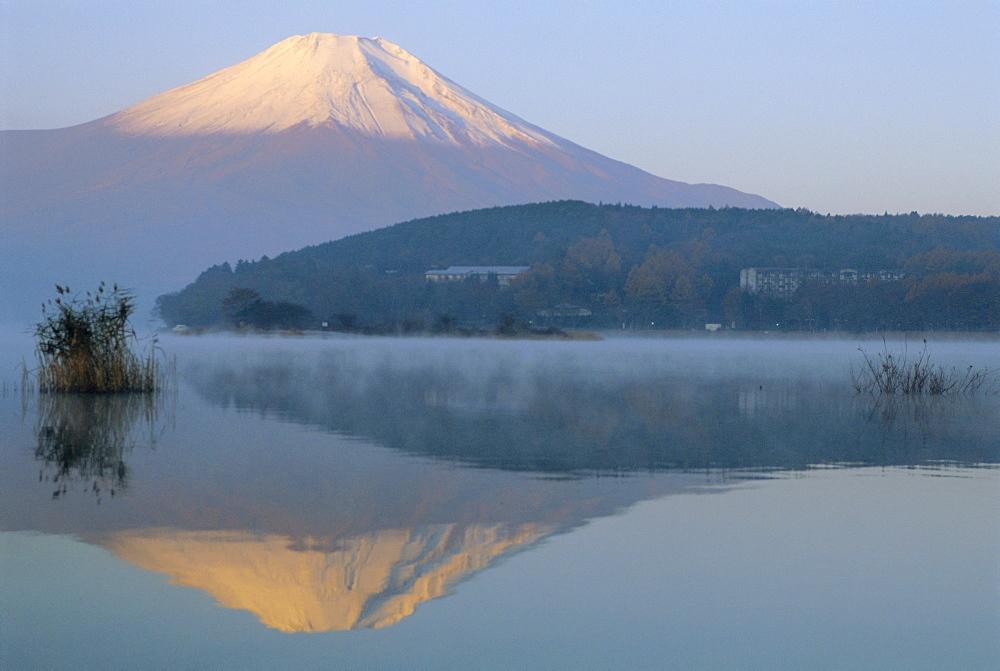 Mt. Fuji and Yamanaka ko (lake), Yamanashi, Japan - 733-42