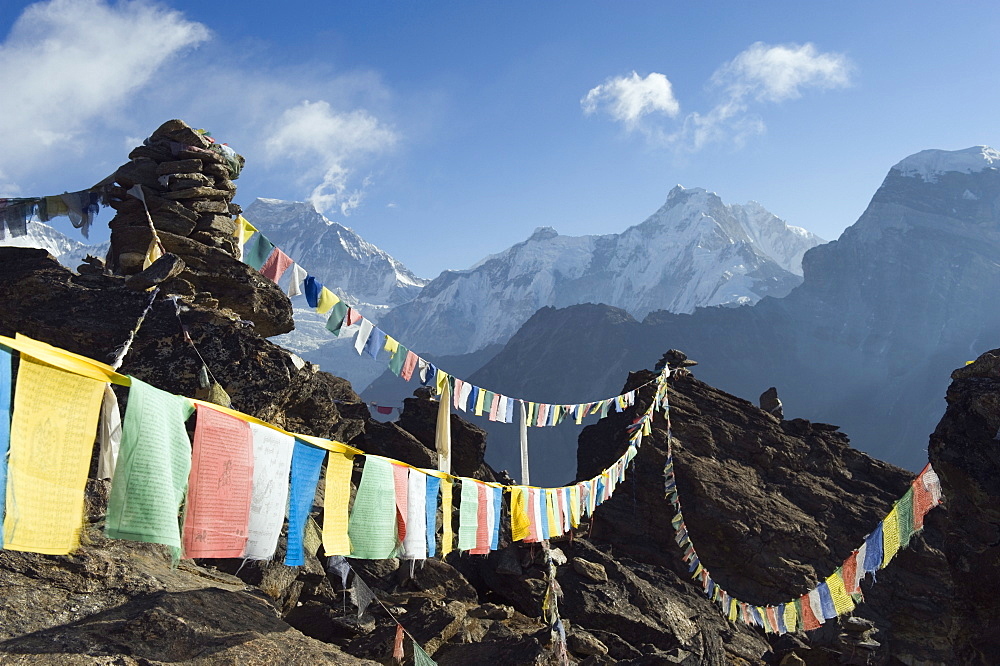 Prayer flags, view from Gokyo Ri, 5483m, Gokyo, Solu Khumbu Everest Region, Sagarmatha National Park, Himalayas, Nepal, Asia - 733-4200