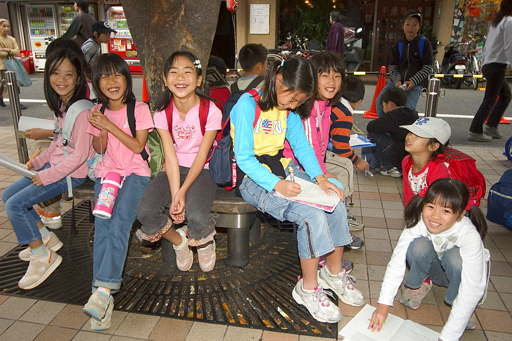 Children, students on school trip, Kyoto city, Honshu, Japan, Asia