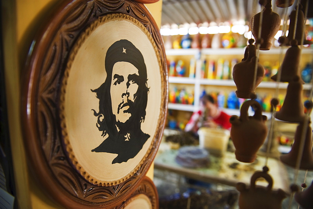 Portrait of Che Guevara at a pottery factory, Trinidad, UNESCO World Heritage Site, Cuba, West Indies, Caribbean, Central America