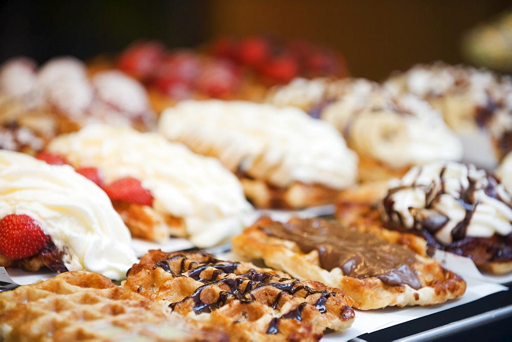 Belgian waffle shop, Brussels, Belgium, Europe