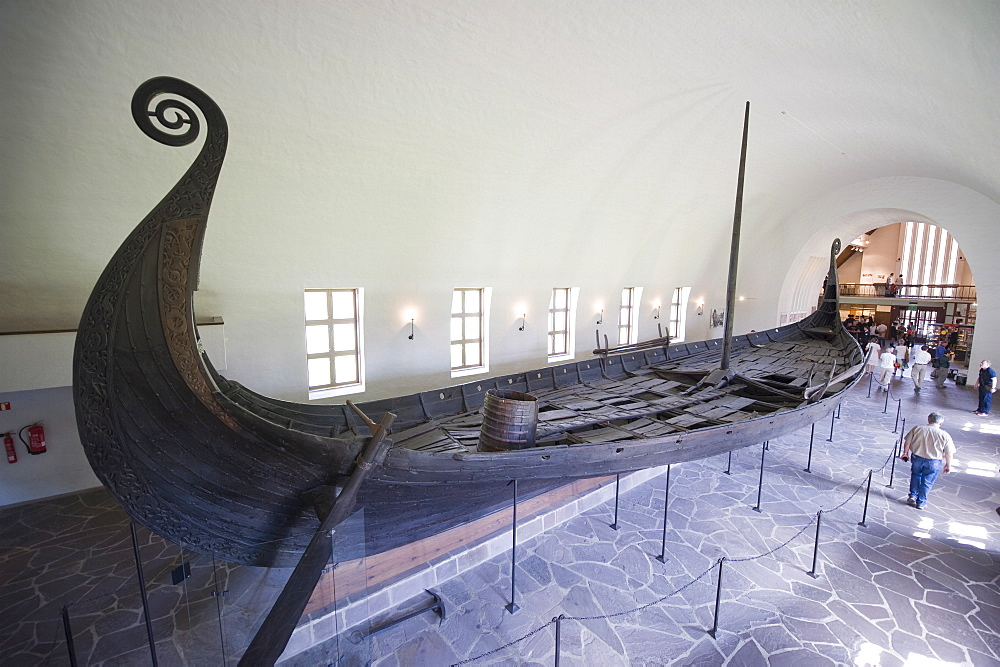 Oseberg Viking ship excavated from Oslofjord, Vikingskipshuset (Viking Ship Museum), Oslo, Norway, Scandinavia, Europe