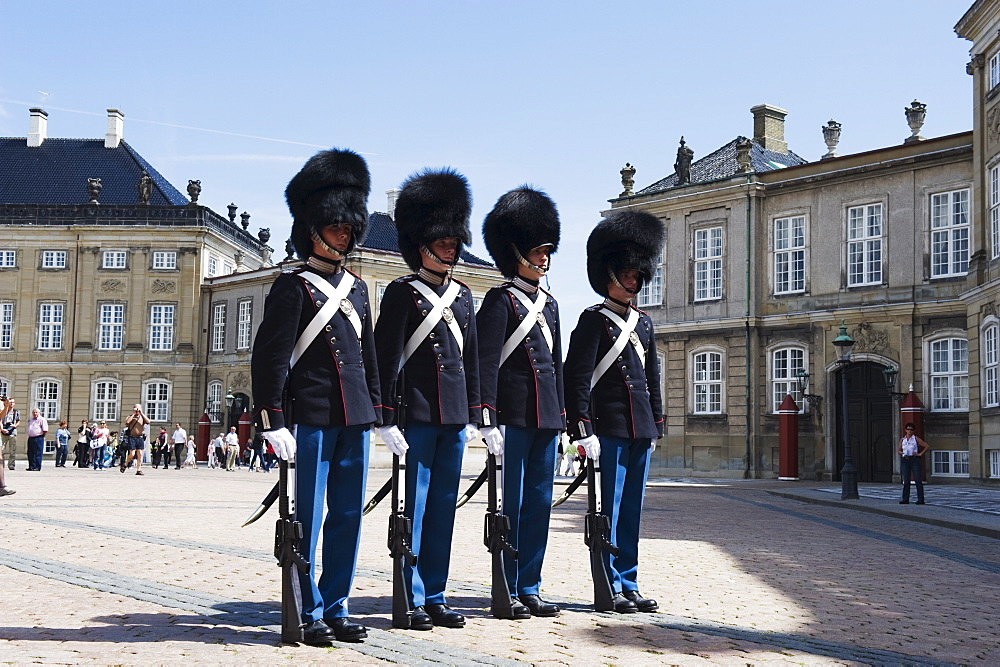 Changing of the guards at Amalienborg Palace, home of the royal family, Copenhagen, Denmark, Scandinavia, Europe