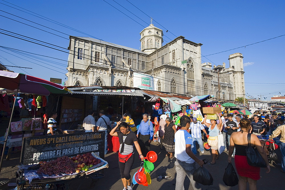 Street market outside a church, San Salvador, El Salvador, Central America