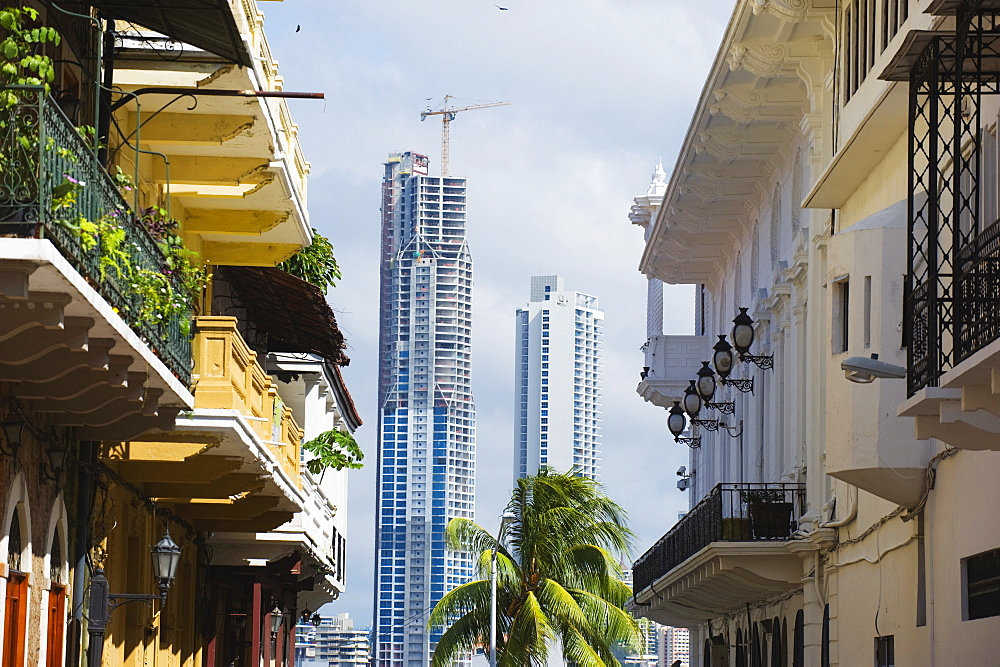 Modern skyscrapers and historical old town, UNESCO World Heritage Site, Panama City, Panama, Central America