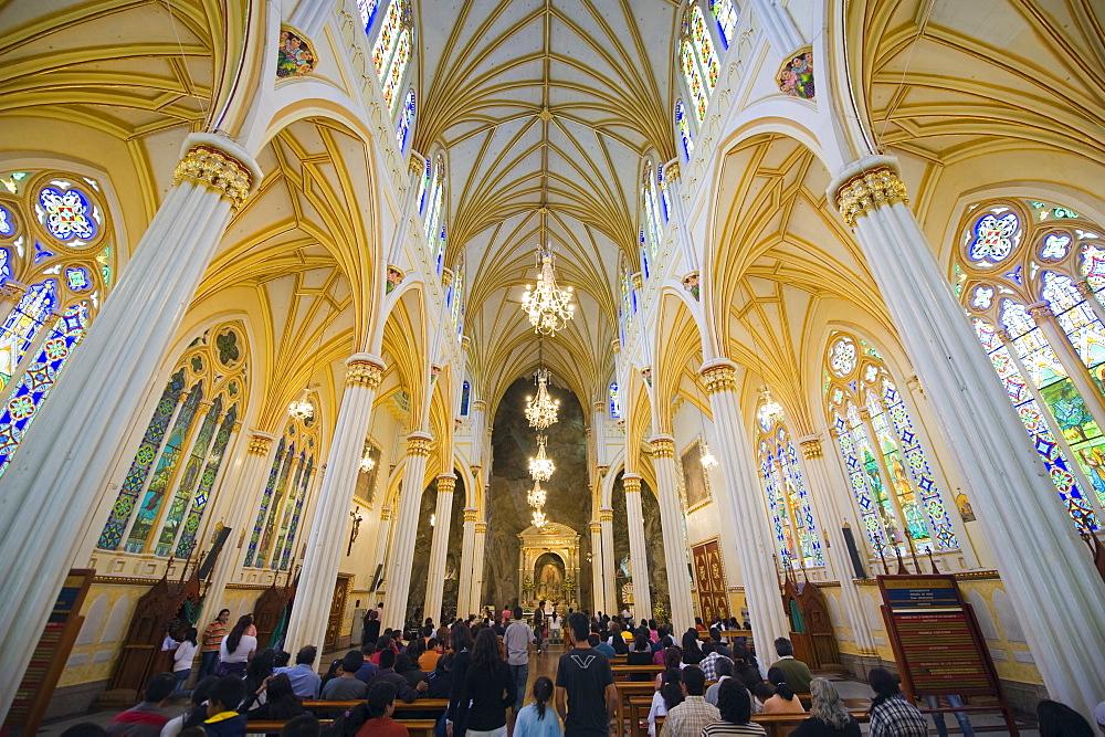 Interior of Santuario de las Lajas, Ipiales, Colombia, South America
