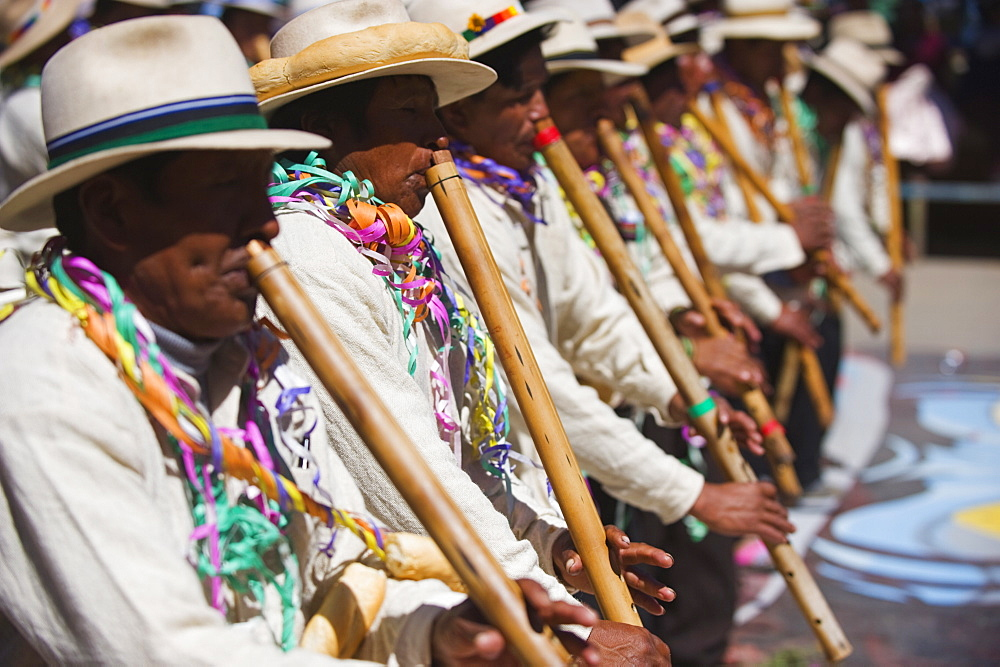 Musicians playing the flute at Anata Andina harvest festival, Carnival, Oruro, Bolivia, South America
