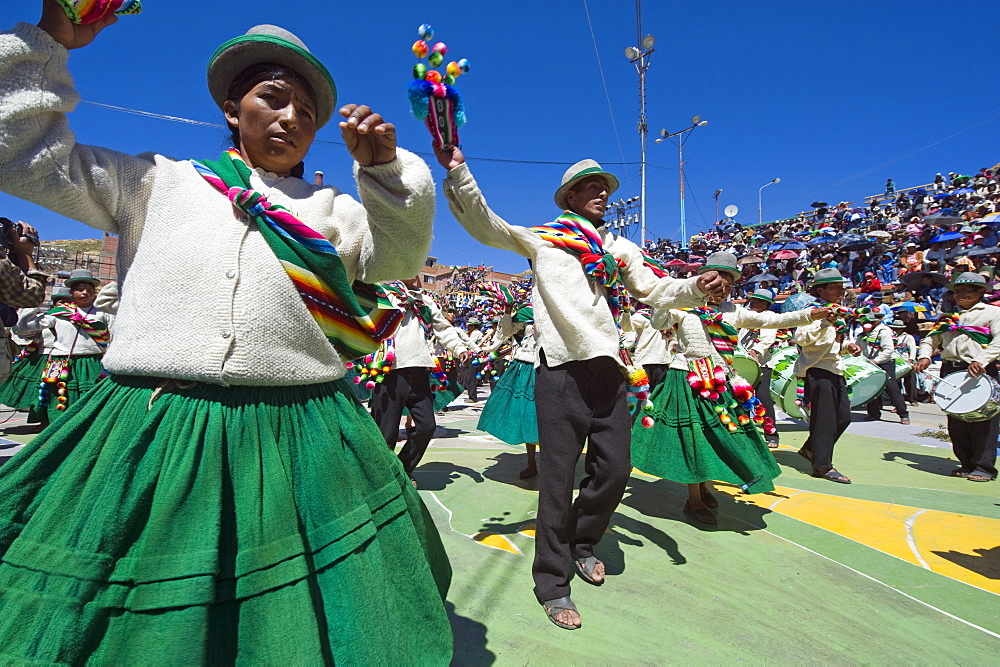Dancers at Anata Andina harvest festival, Carnival, Oruro, Bolivia, South America