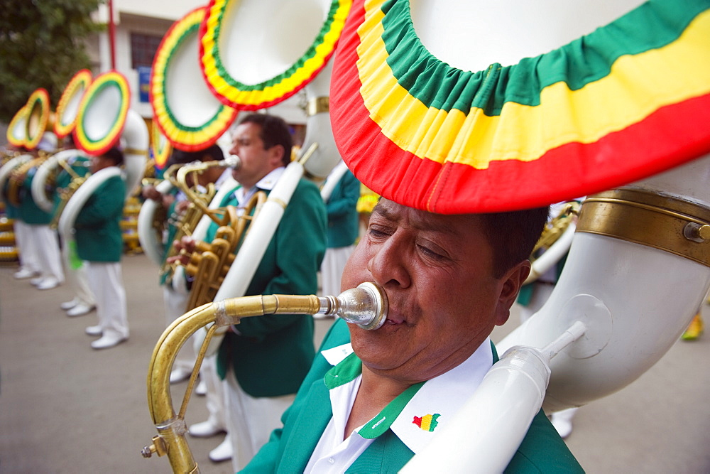 Sousophone players at Oruro Carnival, Oruro, Bolivia, South America - 733-5223