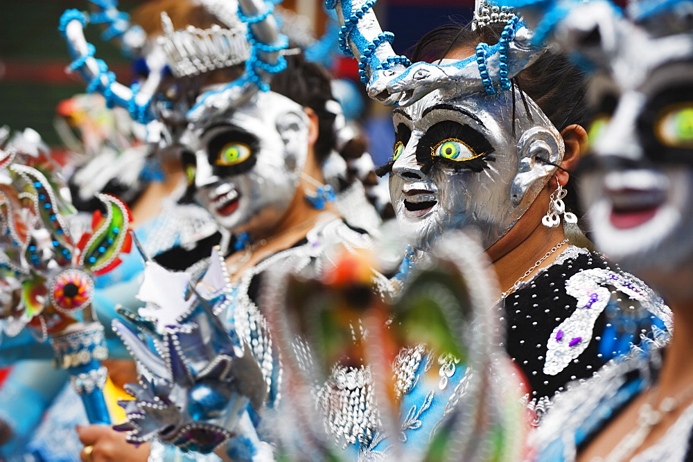 Masked performers in a parade at Oruro Carnival, Oruro, Bolivia, South America - 733-5238
