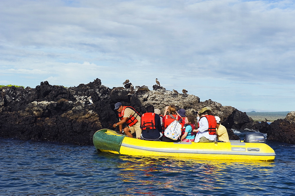 Tourists on a boat tour, Isla Isabela, Galapagos Islands, UNESCO World Heritage Site, Ecuador, South America