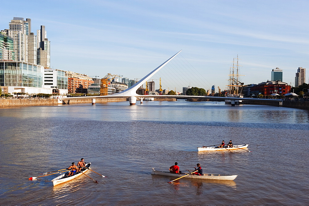 Rowing boats on Puente de la Mujer, Buenos Aires, Argentina, South America