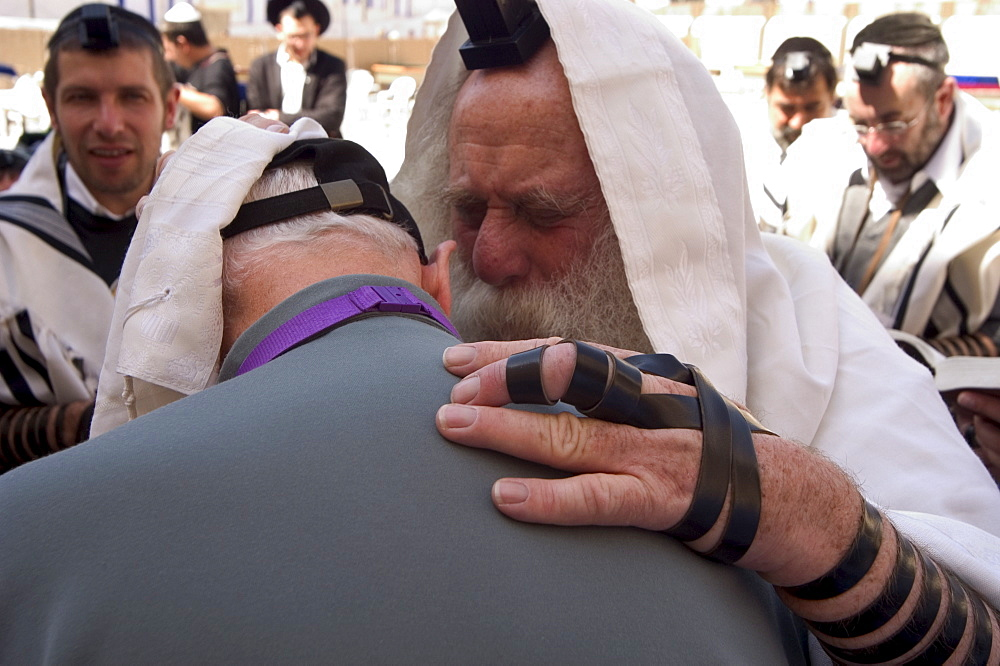 Man being blessed at the Western Wailing Wall, Old Walled City, Jerusalem, Israel, Middle East