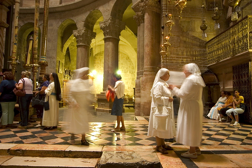 Nuns in the Church of the Holy Sepulchre, Old Walled City, Jerusalem, Israel