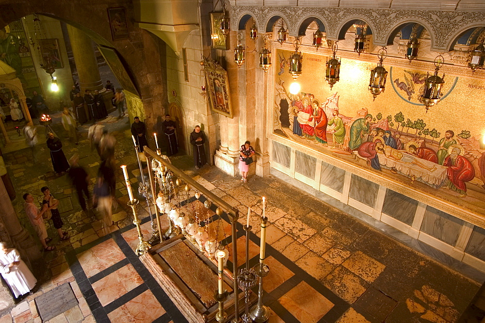 Wall painting of Jesus Christ's death, Church of the Holy Sepulchre, Old Walled City, Jerusalem, Israel, Middle East