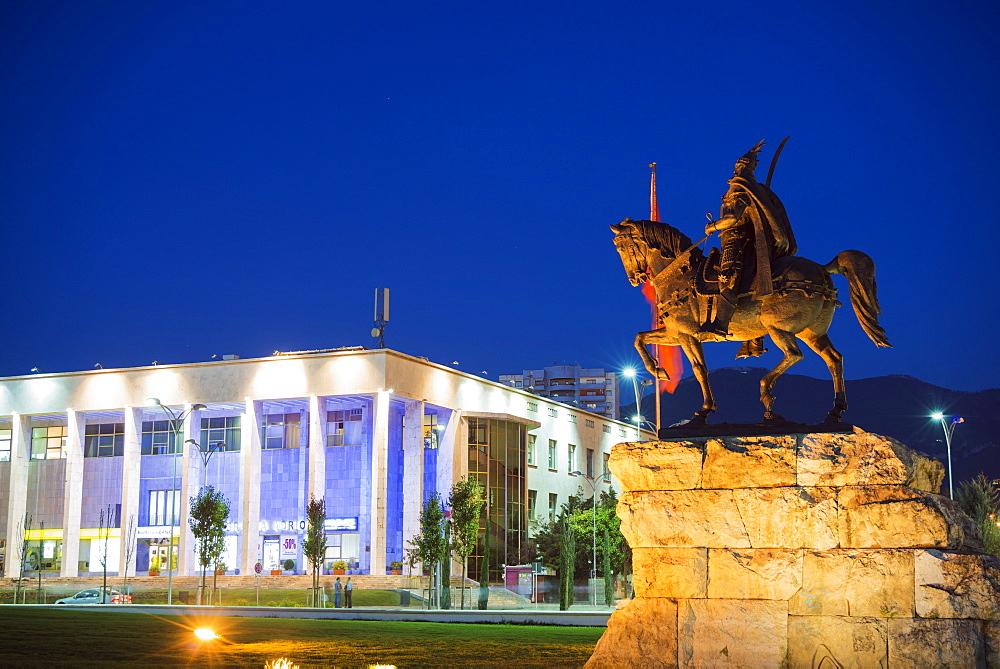 Equestrian statue of Skanderbeg, Tirana, Albania, Europe