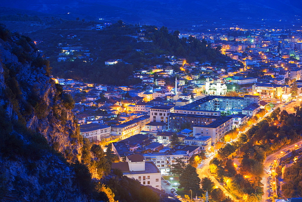 Night view of Berat, UNESCO World Heritage Site, Albania, Europe