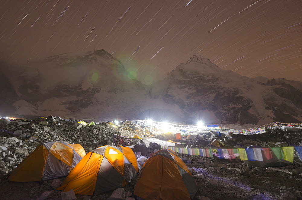 Tents at Everest Base Camp at night, Solu Khumbu Everest Region, Sagarmatha National Park, UNESCO World Heritage Site, Nepal, Himalayas, Asia