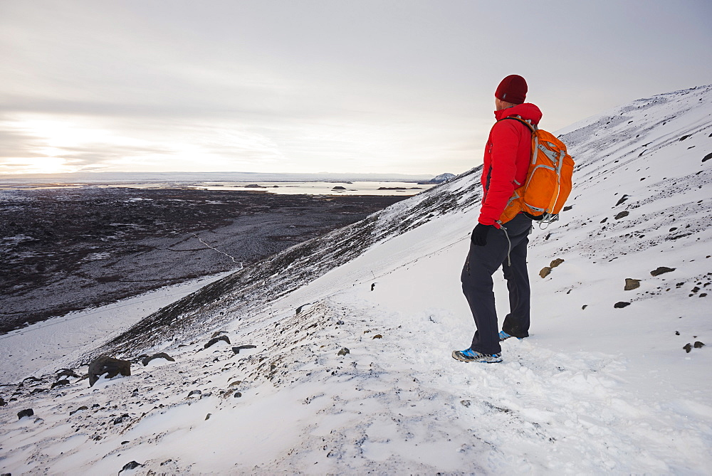 Winter landscape on Volcano Hverfjall, Myvatn, Iceland, Polar Regions