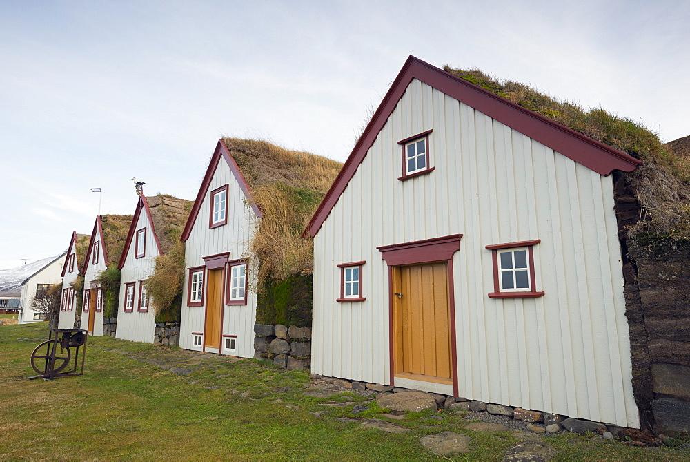 Turf roof houses at Laufas, Iceland, Polar Regions