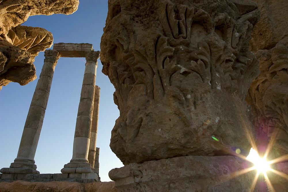 Sunset, Citadel ruins, Jebel al-Qal'ah, Amman, Jordan, Middle East