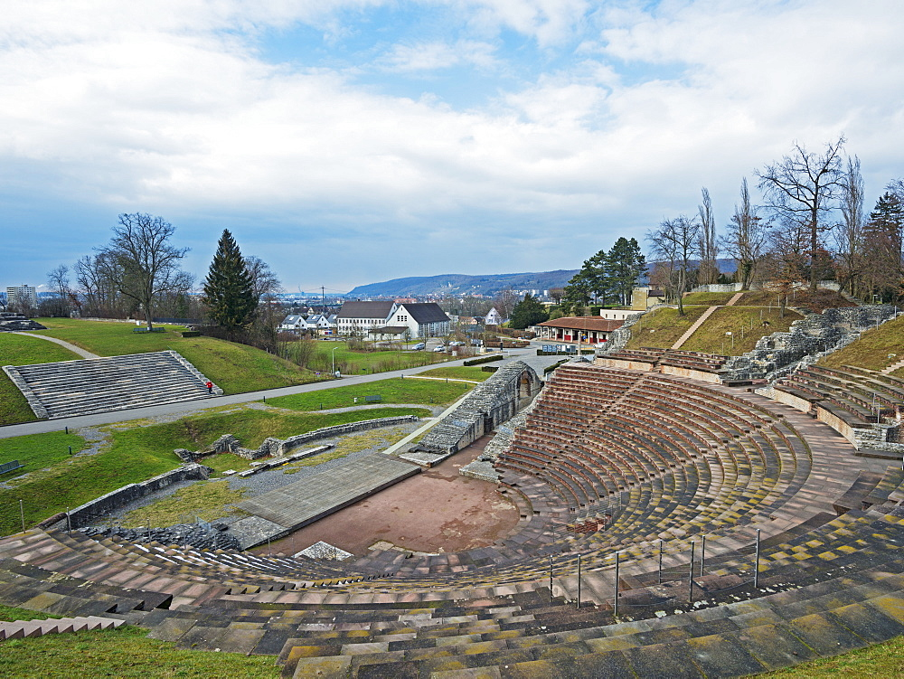 Amphitheatre, Augusta Raurica Roman ruins at Kaiseraugst, Basel Land, Switzerland, Europe