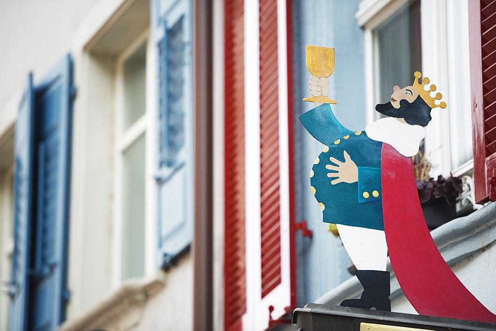 Shop sign in medieval old town, Rheinfelden, Switzerland, Europe