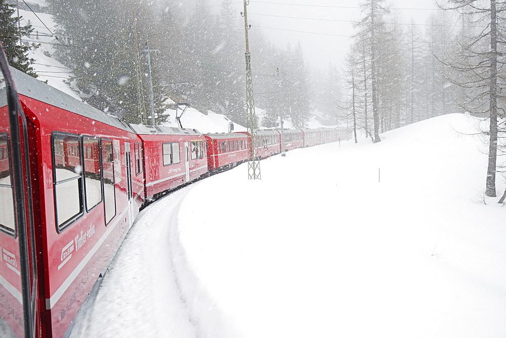Bernina Railway Line, UNESCO World Heritage Site, Graubunden, Swiss Alps, Switzerland, Europe