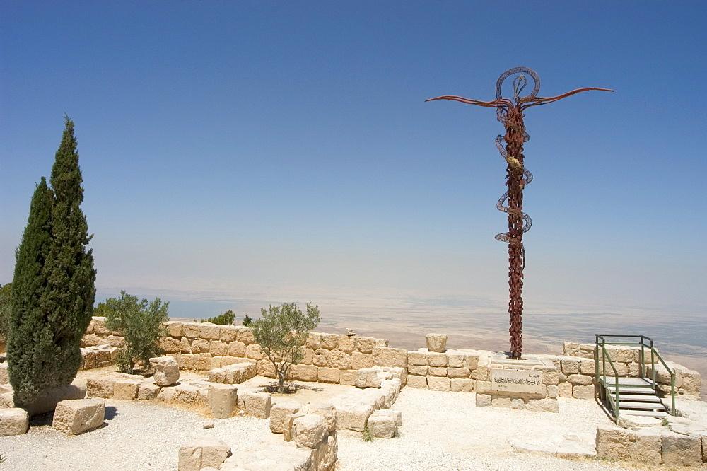 Memorial cross and church ruins, Moses Memorial Church, Mount Nebo, East Bank Plateau, Jordan, Middle East