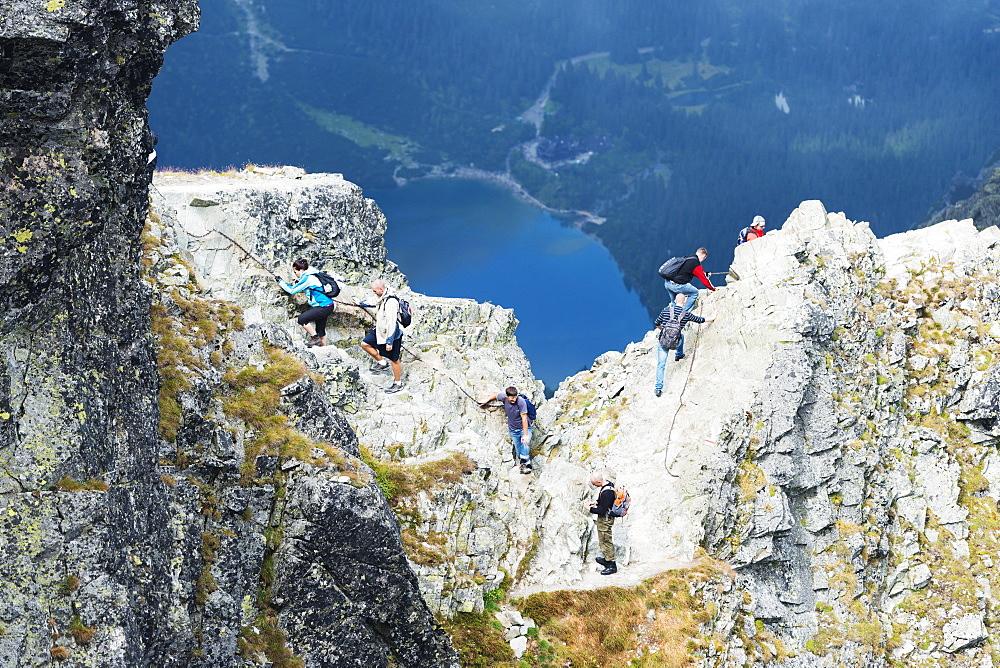 Hikers on Mount Rysy, 2499m, the highest point in Poland, Zakopane, Carpathian Mountains, Poland, Europe