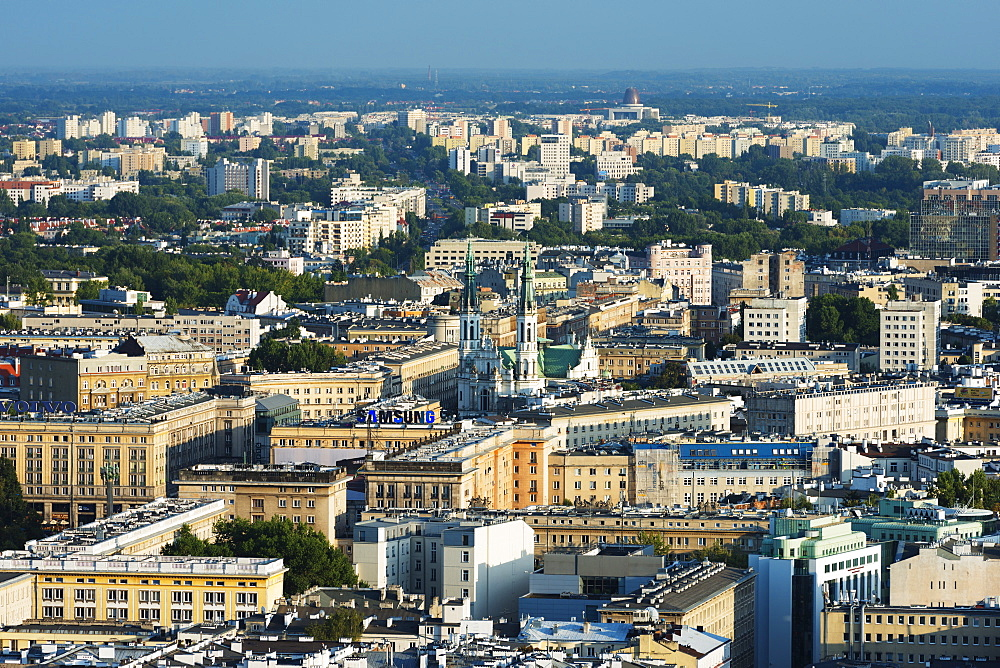City view from Palace of Culture and Science, Warsaw, Poland, Europe