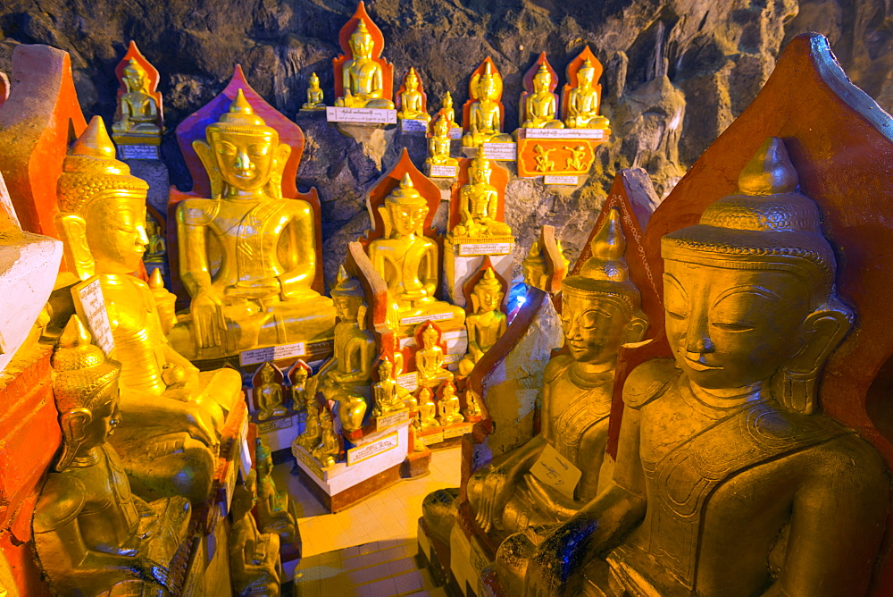 Buddha statues in entrance to Shwe Oo Min Natural Cave Pagoda, Pindaya, Myanmar (Burma), Asia