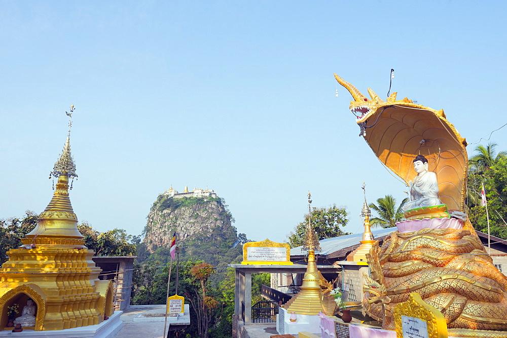 Buddhist temple on Popa Taung Kalat, Mount Popa, Myanmar (Burma), Asia