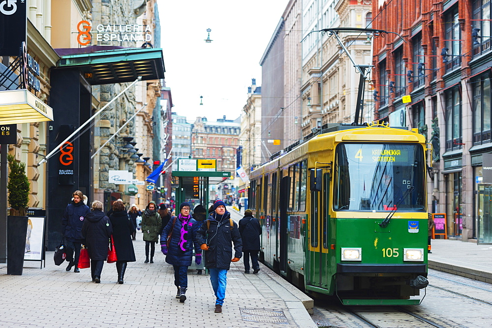 Downtown tram, Helsinki, Finland, Scandinavia, Europe