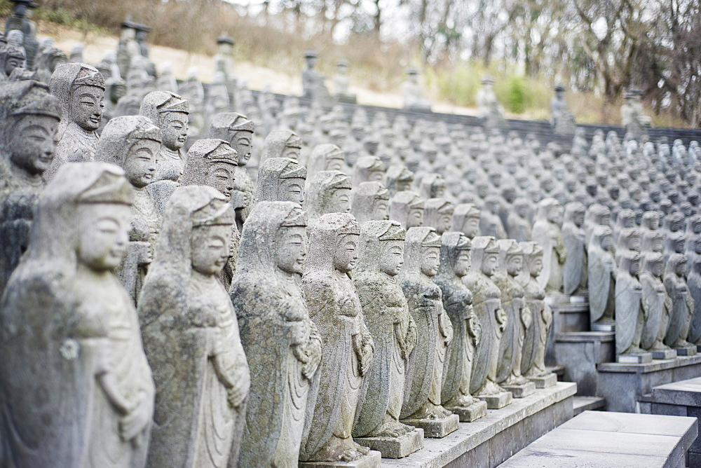 Statues, Gwaneumsa Buddhist Temple, Jeju Island, South Korea, Asia