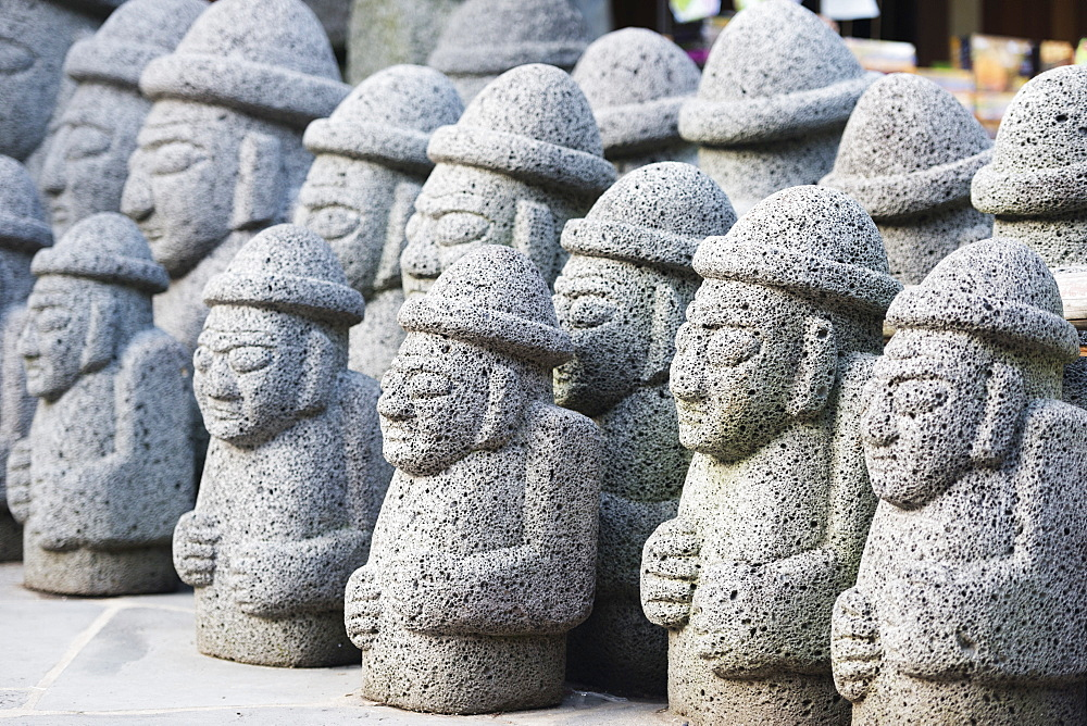 Dol hareubang (harubang) protection and fertility statues, Seogwipo City, Jeju Island, South Korea, Asia