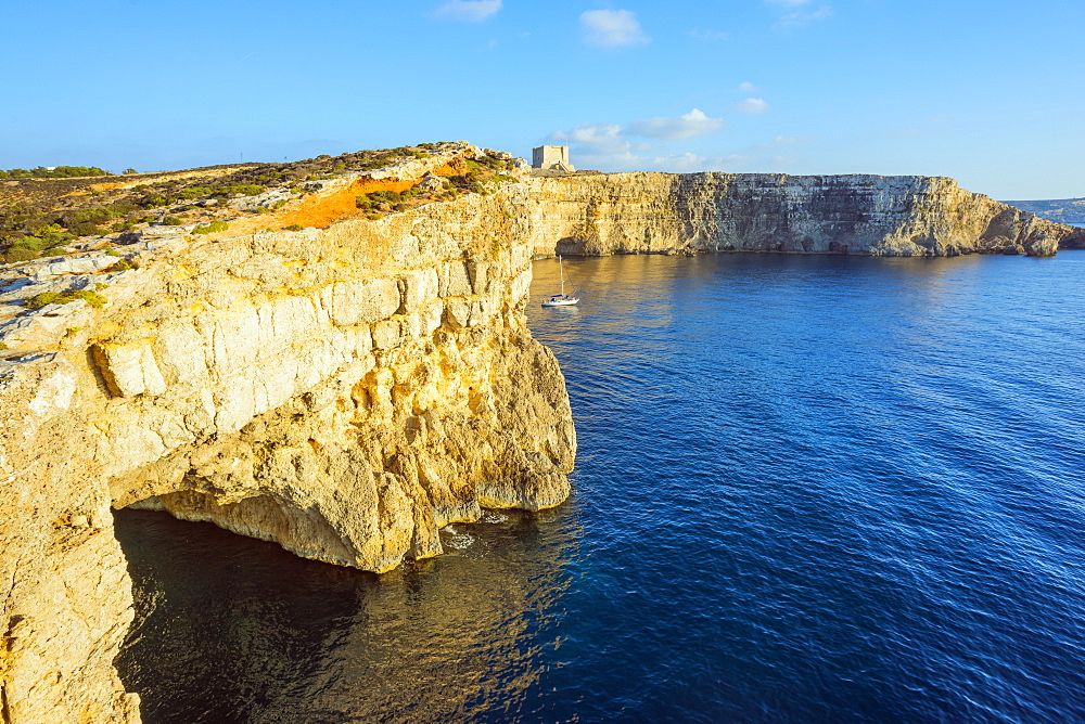 Cliff top watch tower, Comino island, Malta, Mediterranean, Europe