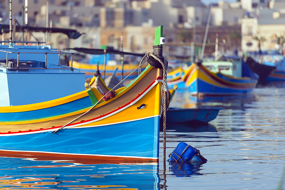 Colourful fishing boats (dghajsa), Marsaxlokk Harbour, Malta, Mediterranean, Europe