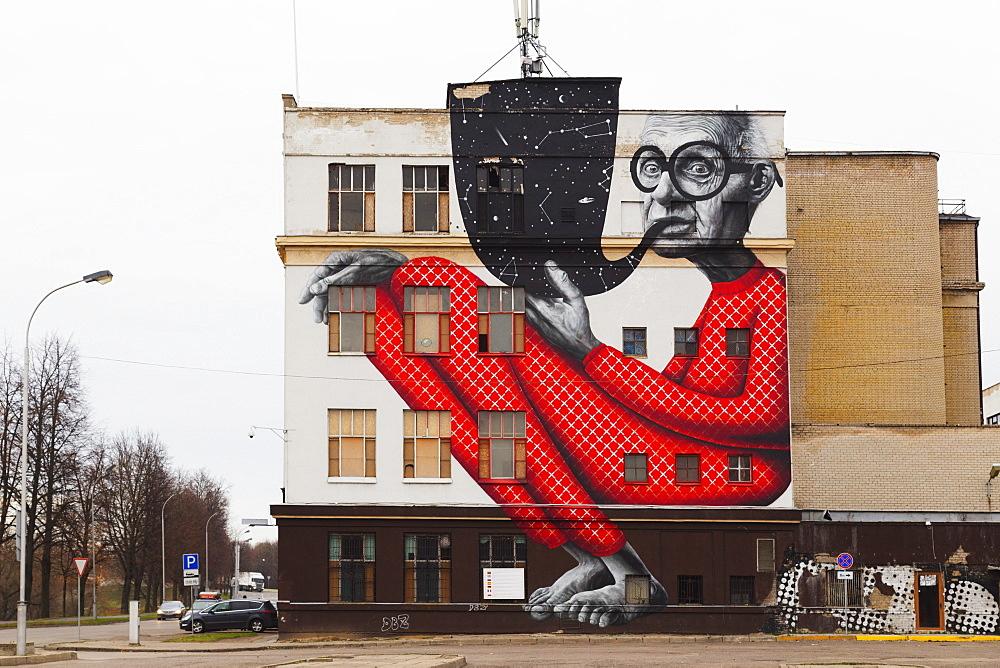 Wall art, Kaunas, Lithuania, Europe