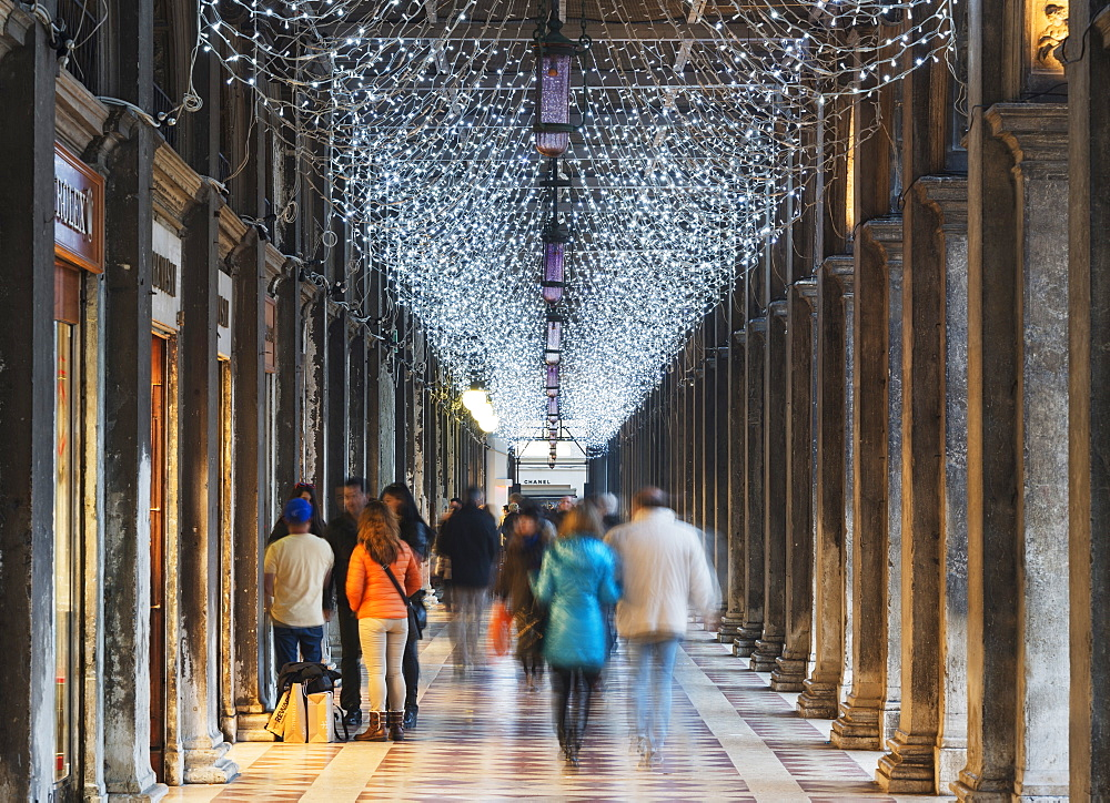 Christmas decorations, St. Marks Square, San Marco, Venice, UNESCO World Heritage Site, Veneto, Italy, Europe